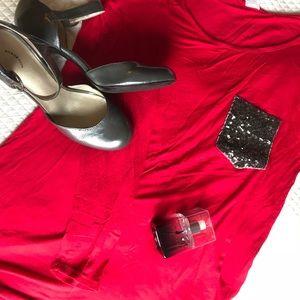 Dresses & Skirts - Cherry 🍒 Red sparkle pocket shirt -NWOT